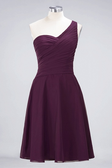 Chic One-Shoulder Short Burgundy Affordable Bridesmaid Dress with Ruffle_19