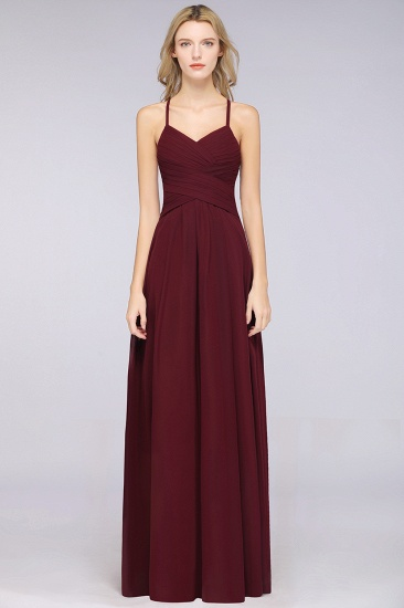 Affordable Spaghetti Straps V-Neck Burgundy Chiffon Bridesmaid Dress with Keyhole Back_53