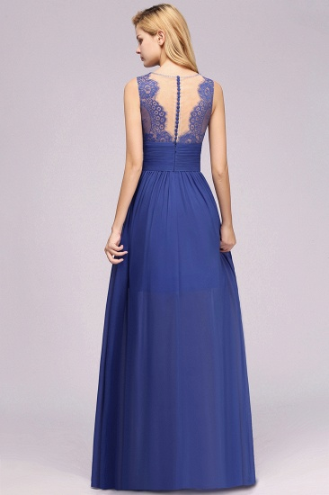 Elegant Chiffon Lace Jewel Sleeveless Bridesmaid Dress with Ruffle_3