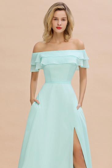 Exquisite Off-the-shoulder Slit Mint Green Bridesmaid Dress With Pockets_57