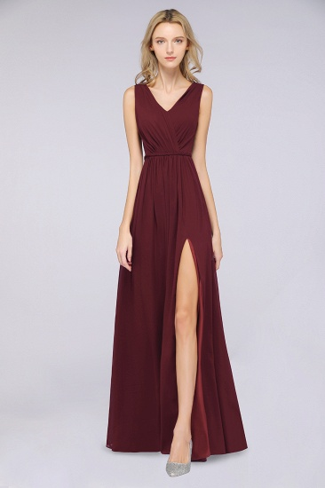 Glamorous TulleV-Neck Ruffle Burgundy Bridesmaid Dress Online_51