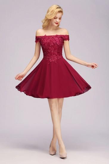 Gorgeous Lace Off-the-shoulder Short Burgundy Bridesmaid Dresses Online_1
