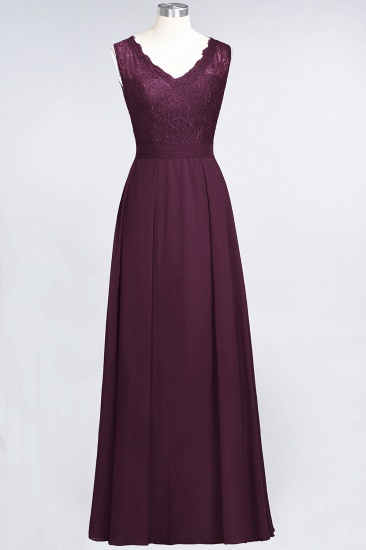 BMbridal Modest Chiffon V-Neck Burgundy Lace Bridesmaid Dresses Online_20
