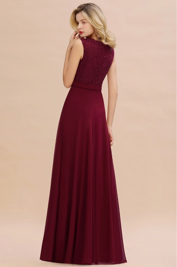 Elegant Lace Deep V-Neck Burgundy Bridesmaid Dress Affordable_3