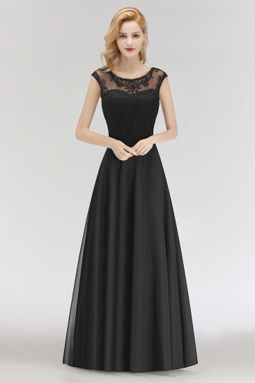 BMbridal Elegant Chiffon Long Lace Black Bridesmaid Dresses Online_4