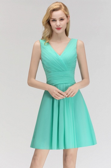 Ruffles V-Neck Sleeveless Short Bridesmaid Dress