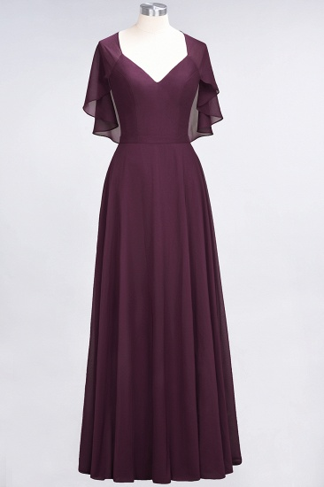 Chic Satin V-Neck Long Burgundy Chiffon Bridesmaid Dress with Flutter Sleeve_20