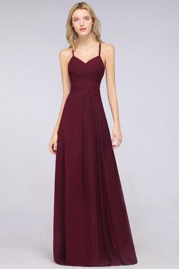 Affordable Spaghetti Straps V-Neck Burgundy Chiffon Bridesmaid Dress with Keyhole Back_54