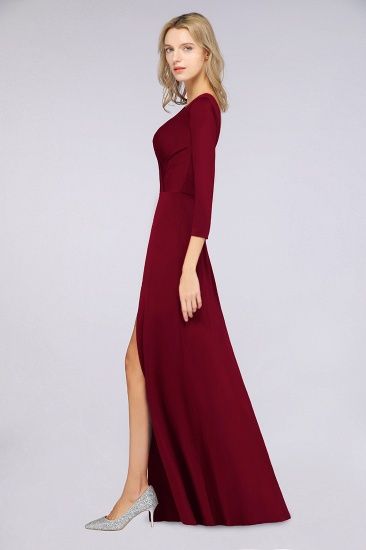 Popular Spandex Long-Sleeves Burgundy Bridesmaid Dresses with Side-Slit_36