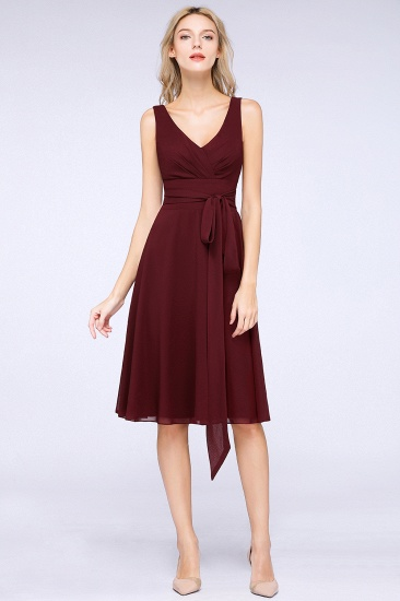 Elegant Straps V-Neck  Ruffle Short Burgundy Bridesmaid Dress with Bow Sash_1