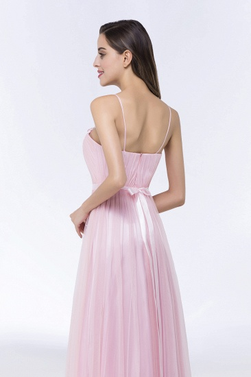 Modest Spaghetti-Straps Sweetheart Long Bridesmaid Dress with Sash_10