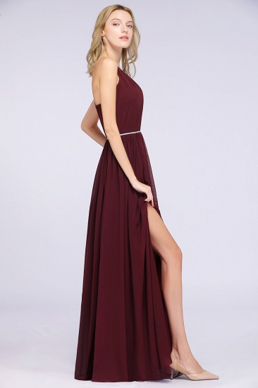 Chic Burgundy Halter Long Backless Bridesmaid Dress with Beadings_5