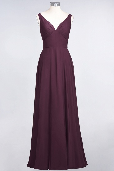 Chic Chiffon V-Neck Straps Ruffle Affordable Bridesmaid Dresses with Open Back_20