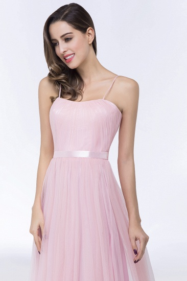 Modest Spaghetti-Straps Sweetheart Long Bridesmaid Dress with Sash_8