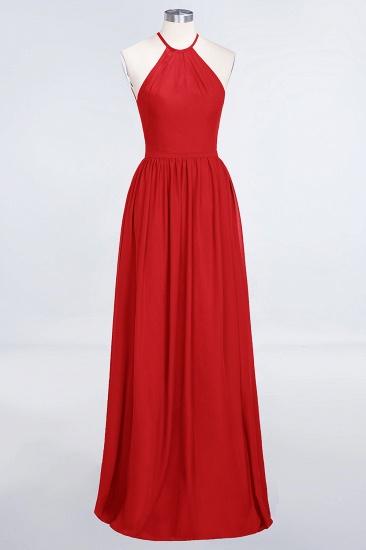 BMbridal Affordable Halter Sleeveless Long Burgundy Bridesmaid Dress with Ruffle_8