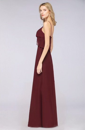 Affordable Spaghetti-Straps V-Neck Burgundy Chiffon Bridesmaid Dresses_54