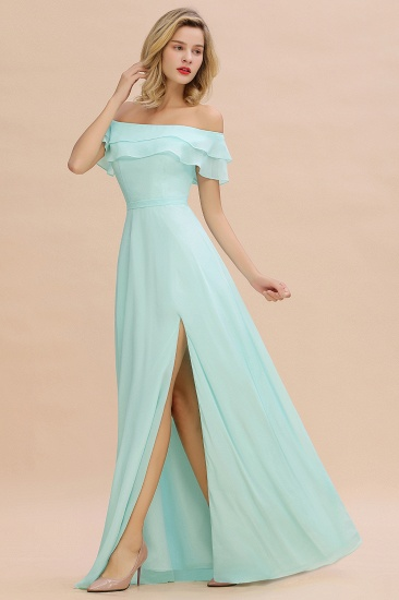 Exquisite Off-the-shoulder Slit Mint Green Bridesmaid Dress With Pockets_36