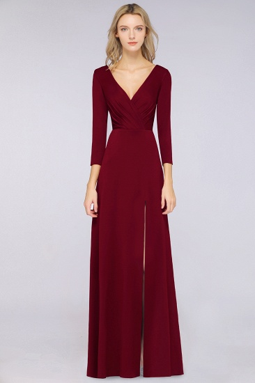 Popular Spandex Long-Sleeves Burgundy Bridesmaid Dresses with Side-Slit_33