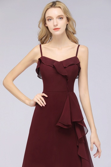 Elegant Spaghetti Straps Ruffle Burgundy Chiffon Dresses Affordable_57