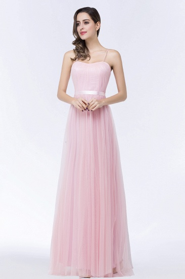 BMbridal Modest Spaghetti-Straps Sweetheart Long Bridesmaid Dress with Sash_4