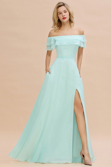 Exquisite Off-the-shoulder Slit Mint Green Bridesmaid Dress With Pockets_53