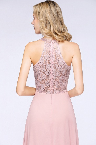 Modest V-Neck Sleeveless Pink Affordable Bridesmaid Dresses Lace_8