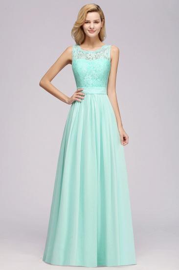 Elegant Chiffon Lace Scalloped Sleeveless Ruffle Bridesmaid Dresses_6