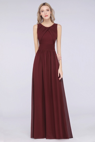 BMbridal Modest Round-Neck Sleeveless Burgundy Bridesmaid Dresses with Ruffles_1