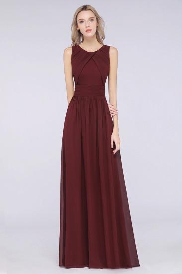 Modest Round-Neck Sleeveless Burgundy Bridesmaid Dresses with Ruffles_1