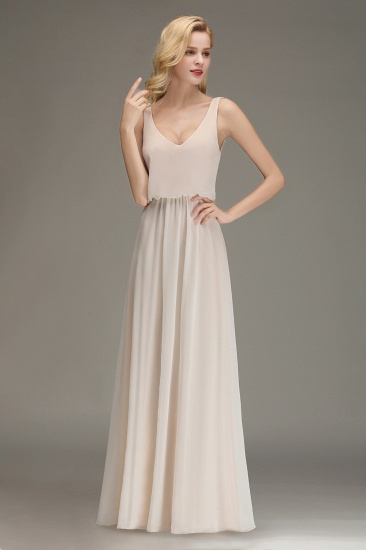 Elegant Straps V-Neck Long Affordable Bridesmaid Dresses with Ruffle_7