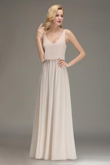 BMbridal Elegant Straps V-Neck Long Affordable Bridesmaid Dresses with Ruffle_7