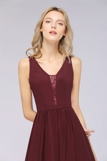 BMbridal Chic Ruffles Straps Chiffon Lace Burgundy Bridsmaid Dress Online_8