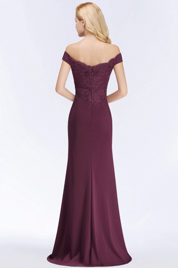 Elegant Mermaid Off-the-Shoulder Burgundy Bridesmaid Dresses with Lace_5