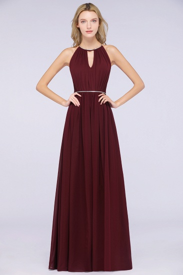 Chic Burgundy Halter Long Backless Bridesmaid Dress with Beadings_2