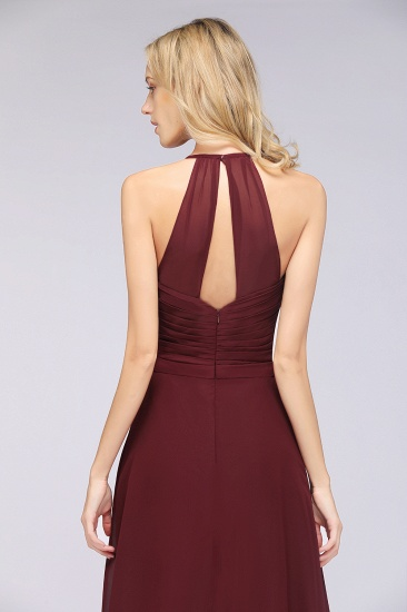 Affordable Chiffon Halter V-Neck Ruffle Burgundy Bridesmaid Dresses_9