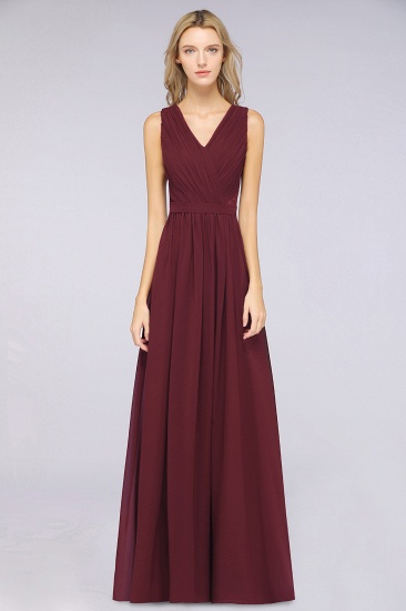 Affordable Burgundy V-Neck Ruffle Bridesmaid Dresses with Lace-Back_1