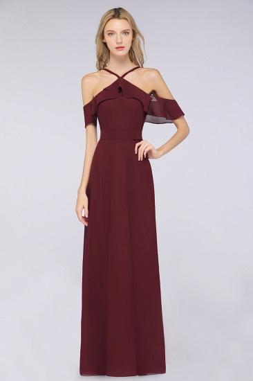 Affordable Spaghetti Straps Burgundy Long Bridesmaid Dress With Bow Sash_1