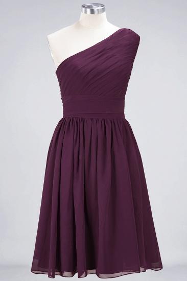 Chiffon One Shoulder Ruffle Short Burgundy Bridesmaid Dresses Online_2