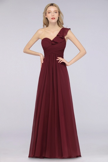 BMbridal Gorgeous Sweetheart Ruffle Burgundy Chiffon Bridesmaid Dress With One-shoulder_4