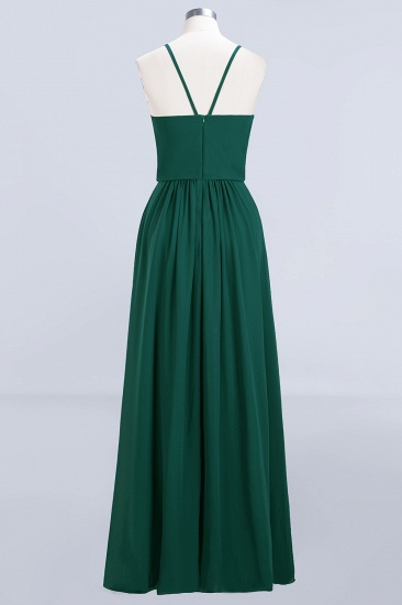 BMbridal Dark Green Chiffon Spaghetti-Straps Modest Bridesmaid Dress Online_9