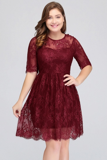 BMbridal Plus size Jewel Burgundy Affordable Bridesmaid Dress with Short Sleeves_1