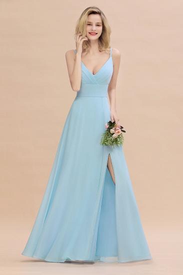 Affordable Spaghetti-Straps Slit Long Chiffon Bridesmaid Dress with Ruffle_5