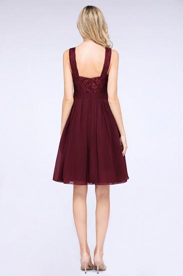 Elegant Lace V-Neck Short Burgundy Chiffon Bridesmaid Dress with Ruffle_3