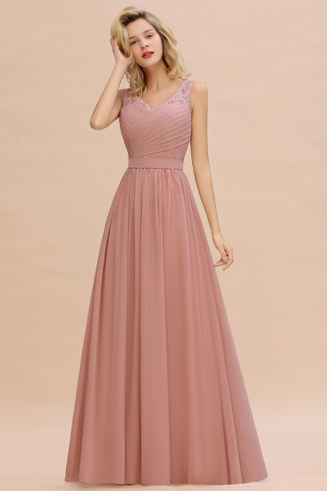 BMbridal A-line Chiffon Lace V-Neck Ruffles Bridesmaid Dress