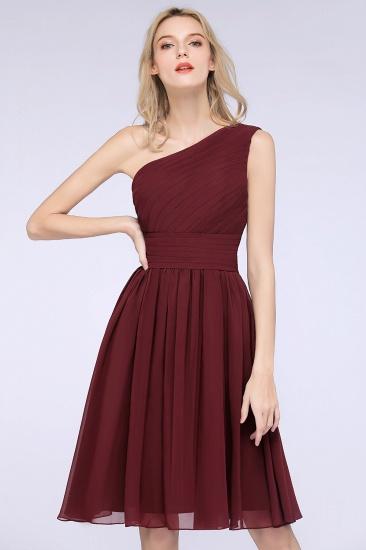 Chiffon One Shoulder Ruffle Short Burgundy Bridesmaid Dresses Online_7