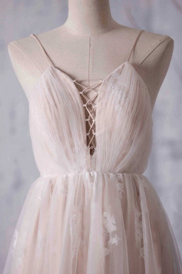 BMbridal Gorgeous A-line Tulle Lace Wedding Dress Spaghetti Straps Ruffles Bridal Gowns Online_5