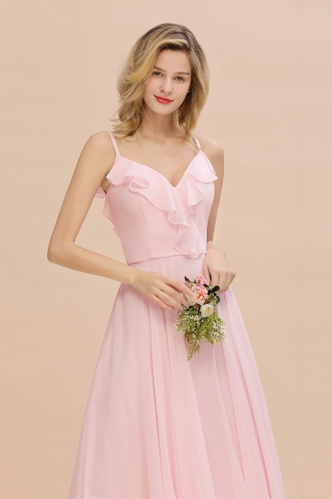Stylish Draped V-Neck Pink Chiffon Bridesmaid Dress with Spaghetti Straps_8