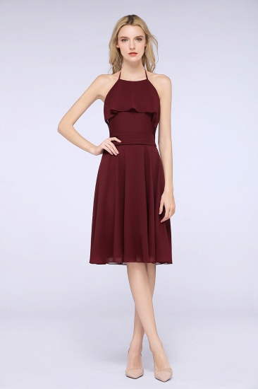 Gorgeous Halter Sleeveless Chiffon Short Bridesmaid Dress with Ruffle_2