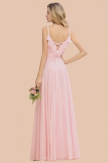 Stylish Draped V-Neck Pink Chiffon Bridesmaid Dress with Spaghetti Straps_3