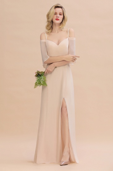 Gorgeous Spaghetti Straps Flounced Crinkle Cheap Bridesmaid Dresses with Slit_4